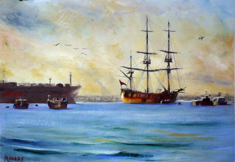 Endeavour riding at anchor in Botany Bay