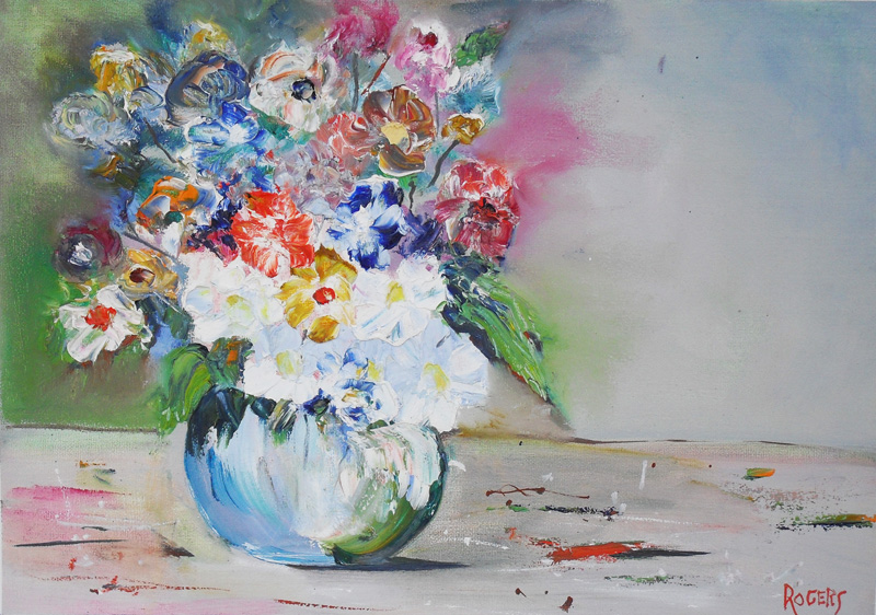 Flowers in Vase (oils, palette knife)