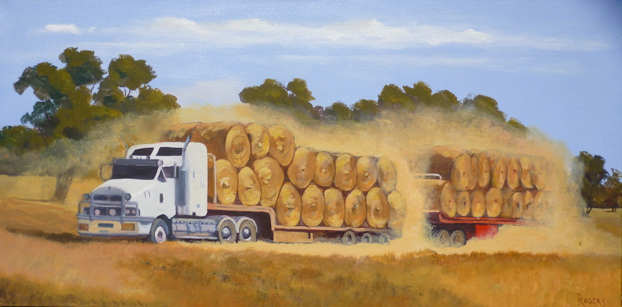 Hay Bales on B-Double Truck