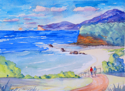 Pretty Beach Watercolour No1