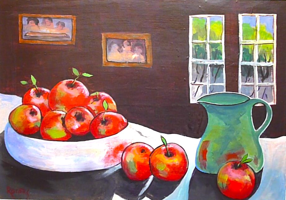 Still Life with Red Apples and a Green Jug