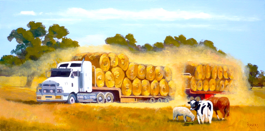 Hay Bales on B-Double Truck with Animals
